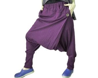 Women Men Pants - Drop Crotch Plum Cotton Jersey Pants With 2 Side Pockets And Elastic Waist Band