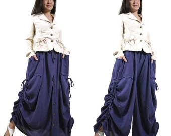 PLUS SIZE Love Me..Love Me Not III - Steampunk Dark Navy Blue Cotton Convertible Skirt Or Pants Or Tubedress With 2 Roomy Pockets