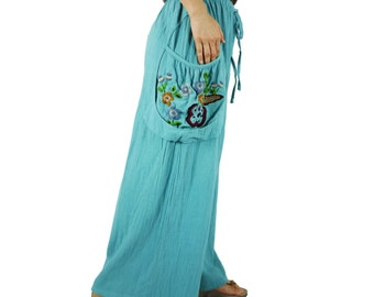 Look At Me Now...Simply Wide Legs Blue Cotton Pants With Floral Hand Embroidered Detail On Right Pocket