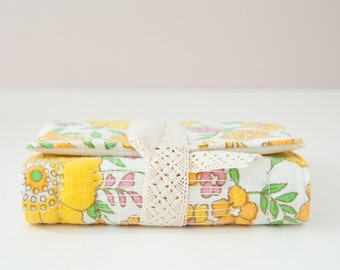 Small Vintage Fabric Journal with Unlined Pages. Yellow Floral Fabric Notebook. Personal Diary. Gift for Her.