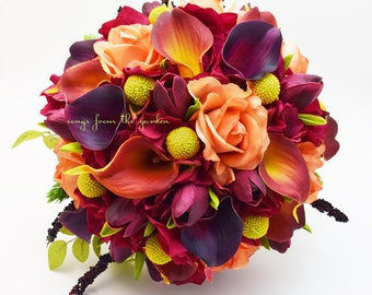 Plum Burnt Orange Calla Lilies Tulips Roses Yellow Craspedia Bridal Bouquet Groom's Boutonniere - Customize for your Wedding Colors