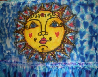 Drenched In Sunshine, Original Painting, Painted Curtain Panel, Hippie Art, Boho Home, Hippie Peace Flag, Festival