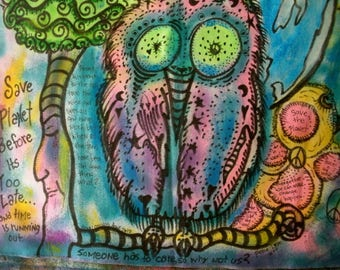 Hippie Art, Peace Flag, Save The Planet, Earth Day, Owl, Tree, UV Art, Peace Love Art