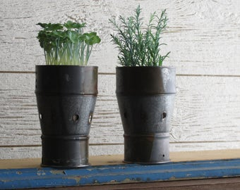 metal canister -  home decor -vase - planter -industrial-  container