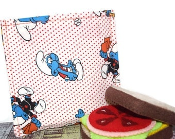 Reusable Sandwich Bag | Snack Bag | Eco Friendly | Waste Free Lunch Bag | Zero Waste | Lunch Bag | Cartoon | Vintage Smurfs | SALE