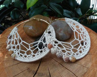 Crochet Hoops | The Natural Collection with Marble Beads | Thread Earrings | Boho Earrings