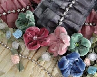 DESTASH Deluxe Ribbon Lot. Velvet Handmade Flower Embellishments. 100+ Ribbon Rosettes. Rhinestone Decor Ruffled Ribbons. And More