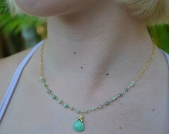 Green Chrysoprase Necklace Choker Length Gold Filled
