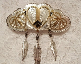 Vintage Two-tone Engraved Hair Clip, Southwestern Style, Silver and Gold with Dangling Feathers
