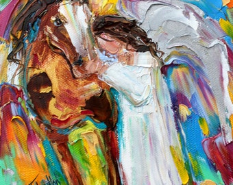 Angel and Horse painting original oil 6x6 palette knife impressionism on canvas fine art by Karen Tarlton