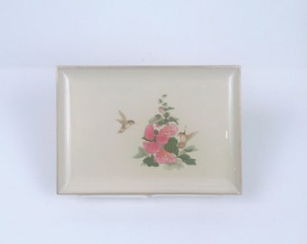 Vintage Otagiri Japan Lacquerware Tray with Hummingbird and Floral Morif