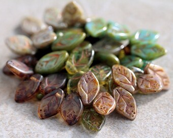Glass Leaf Beads, Czech Glass Beadsm Brown Green & Olive Mix II, 12X7mm (36pcs)