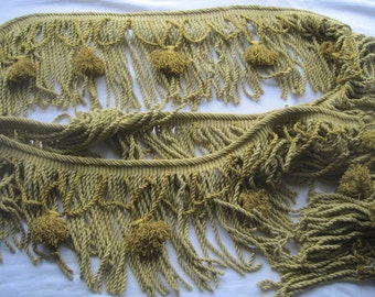 Fabulous vintage French tassel braid, trim.  Pale greeny gold.  Three metres/over three yards.  Passementerie.