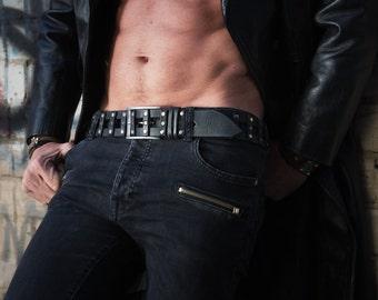 Design Leather, Black Belt, Men's Style, Men's Design, Artisan Leather, Men's Belt, Riveted Belt, Studded Belt, Quality Leather, Unique Belt