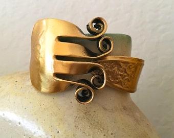 Vintage Gold Plated Lady Doris Silver Fork Bracelet Hinged Clamper