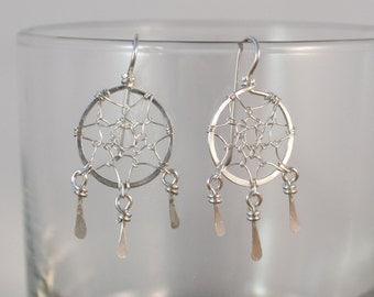 Silver Dreamcatcher Earrings - 925 Sterling Silver