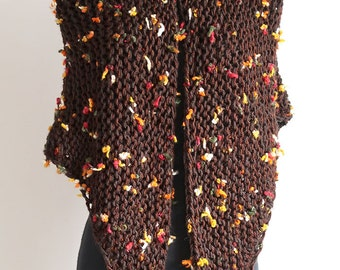 Autumn Flowers Light Brown Color Chunky Knitted Shawl Outlander Inspired Stole Wrap with Tassels