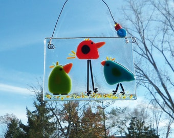 Colorful Birds of Happiness // Fused ARt GLass Suncatcher // Sun Catcher // Bright // Cheerful // Whimsical // Small // Get Well // Fun