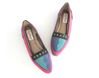 Vintage Loafers * Colorblock 80s Shoes * Suede 1980s Flats * size 8.5 / 39