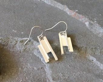 Abstract Dangly Earrings, Contemporary Sterling Silver Earrings, Basalt Column Earrings, Minimal Earring, Abstract Earrings, Minimalist