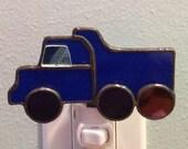 Stained Glass Blue Dump Truck Night Light