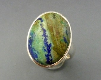 Azurite Sterling Silver Adjustable Ring, sterling silver ring, sterling silver jewelry, rings, gift for her, unique ring, one of a kind ring