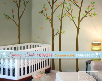 Tree Wall decal, Forest Trees Wall Decal with Birds, Winter Trees Decal  Nursery Home Decor, Birch Trees Wall Decal Baby Kids Room Decor