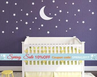 Stars and Moon Wall Decal, Stars Wall Decal, Moon Wall Decal, 70 Stars and Moon Wall Sticker for Nursery Baby Room, Kids  Night Wall Decal