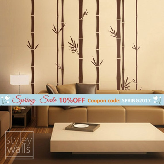 Bamboo Wall Decal 100inch Tall Set of 8 Bamboo Stalks Vinyl