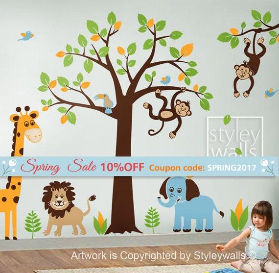 Children Wall Decal Safari tree decal Jungle Animals Decal HUGE Set Nursery Kids Playroom Vinyl Wall Decal Sticker Wall decor Baby decal