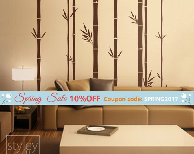 Bamboo Wall Decal 100inch Tall, Set of 8 Bamboo Stalks Vinyl Wall Decal, Home decor, Bamboo Wall Decor, Tree Wall Decal, Bamboo Stickers