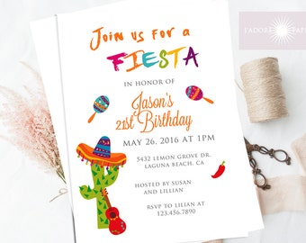 Fiesta Invitation, Fiesta Birthday Invite, Printable Fiesta Invite, Cinco de Mayo Invite, Birthday Invitation, Cumpleanos, jadorepaperie