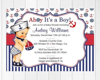 Baby Shower Invitation / AHOY It's a BOY! / Nautical / FREE Shipping