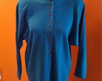 Fun Vintage Le Crillon Paris Turqouise Jumper Dress with Batwing Sleeves