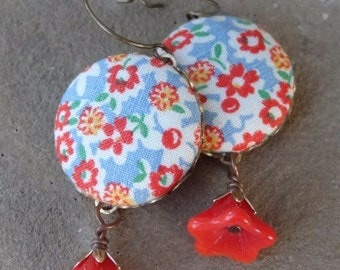 Handmade Fabric Dangle Earrings. Red. Orange. White Flower Fabric, Czech Red Tulip Drops. Uprecyled Drop Earrings