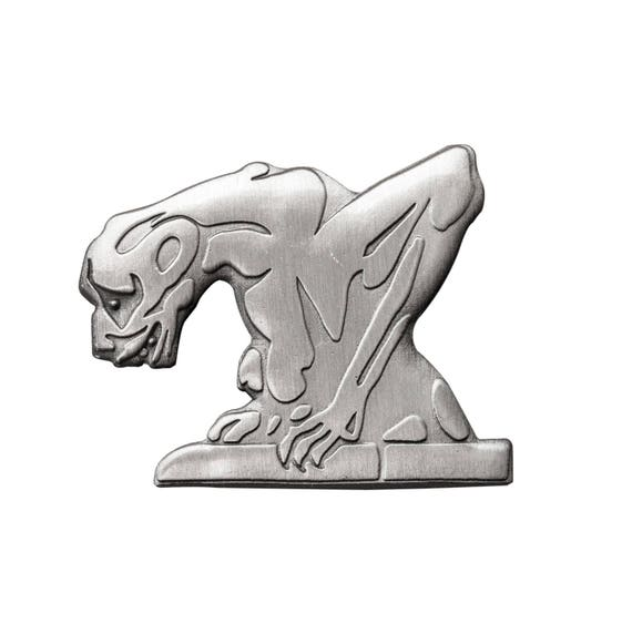 3D gargoyle pin. Antique silver medieval gargoyle enamel pin. Fantasy lapel pin.