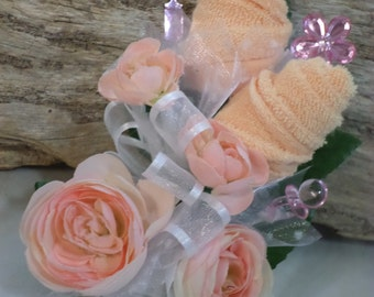 Pin On Baby Shower Corsage Girl - Peach and White Baby Shower Corsage - Pacifier and Washcloth Flowers -  Baby Girl Corsage