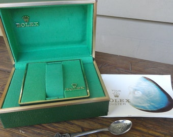 Vintage ROLEX Watch Box 1970s Oyster Presentation box plus brochure and spoon