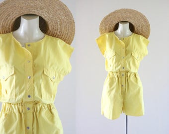 lemon shorts romper / m