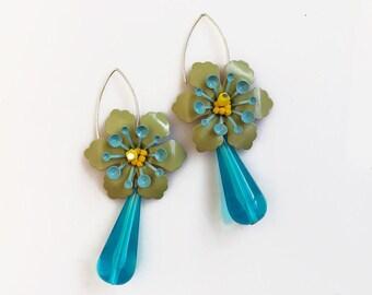 Blue Drop Earrings, Blue Green Statement Earrings, Flower Dangle Earrings, Sterling Silver Earrings, Bridesmaid Earrings