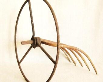 Folk Art Rustic Metal Sculpture, Industrial Chic, Primitive, Outsider Art, Tractor Steering Wheel, Pitchfork, Farm Tools, Handmade, Fine Art