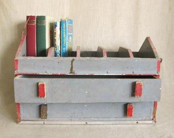 Vintage Folk Art Chest of Drawers, Tool Cabinet, Storage, Organization, Desk Box, Large Wooden Box, Chippy, Rustic Decor, Cabin, Bedside