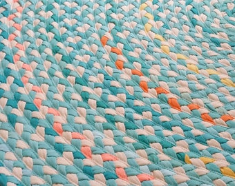 "60"" aqua and natural braided nursery rug"