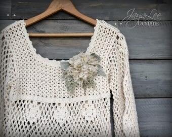 Vintage Crochet Blouse Boho Babydoll Shirt Small
