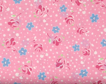 Red & Blue Flowers with White Dots on Pink 1930's Reproduction Cotton Quilt Fabric, Lecien's Retro 30's Child Smile Collection, LEC31143-20