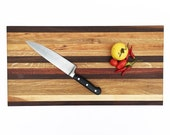 "Handmade Wood Cutting Board - Big Classic Board with White Oak, Walnut, Cherry, Maple, and one strip of Mahogany - 22-1/2"" x 11-1/2"" x 7/8"""