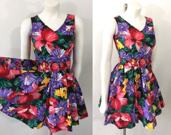 Vintage 90s Dress Full Skirt All That Jazz Dress Floral Rockabilly 50s Style