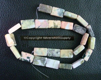 "New Jade 16"" (serpentine) 11/16 flat brick beads apprx 25pcs 17x11x5mm bs074"
