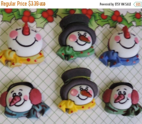SALE Snowman Buttons, 3D Holiday Fun Collection by Buttons Galore, Carded Set of 6 Buttons, Seasonal Buttons, Winter, Snow