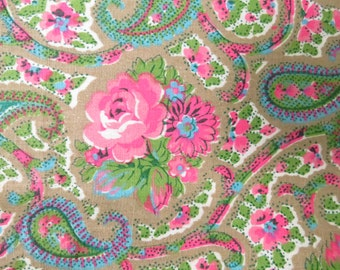 Vintage Pink Roses Paisley Floral Cotton Print Fabric 1.5 yards